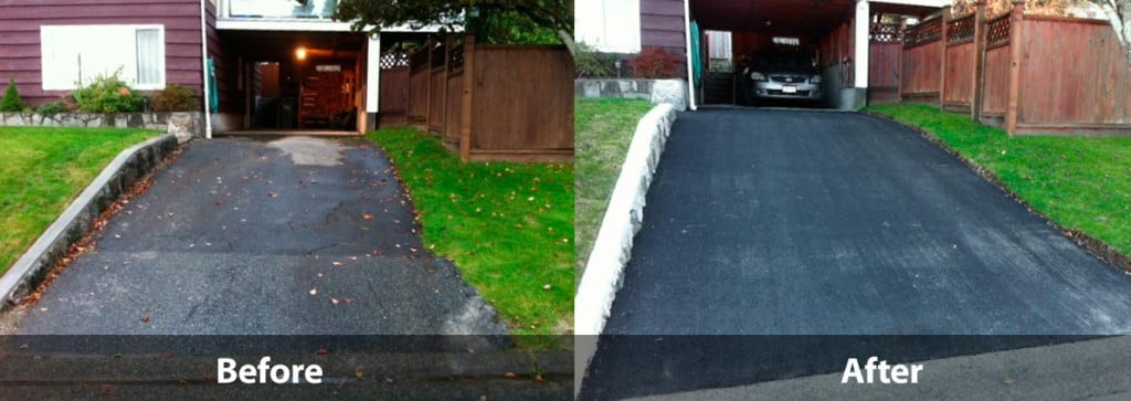 Before and after driveway paving