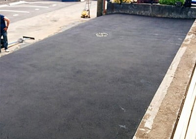 Finished asphalt parking area