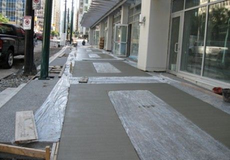 Sidewalk paving downtown